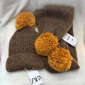 NWT Zara pompom beanie and scarf set